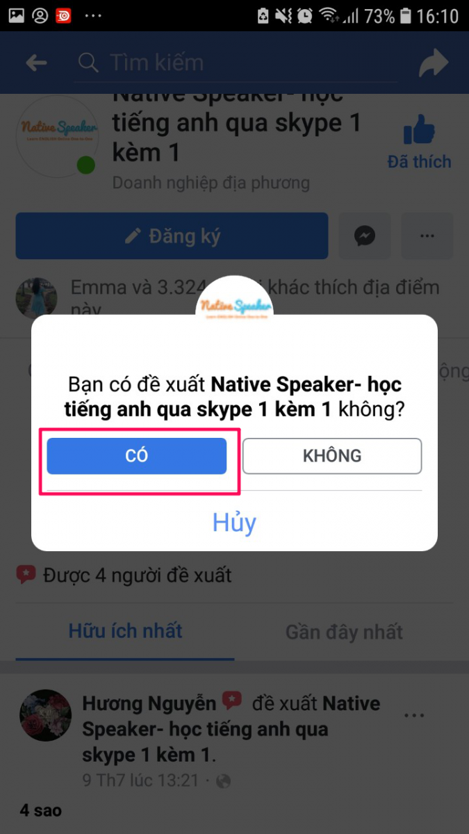 cach like share fanpage native speaker